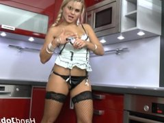 Barra Brass blonde milf in her hot lingerie with black stocking teasing and