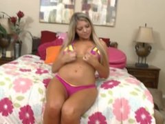 Brianna Brooks sexy hot pink bikini teasing before her blowjob, handjob sho
