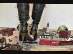 Giantess crush toys train village Stocking and boots