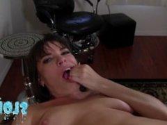 Dana Dearmond has her pretty face n throat fucked! Footjob - Complete MESS