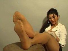 Hot girl with sexy nylon feet