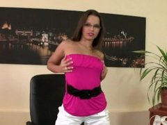 Eve Angel bored, horny, and stuck at the office