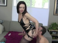 Chad wants 2be Sarah Shevons slave n she tests his limits with a huge strap