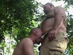 Big Daddy Bear and Boy Cub Outdoor Blowjob