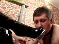 Submissive is licking mistress's shoes