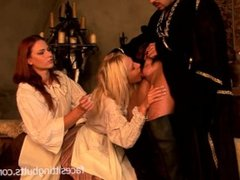 Beautiful maids share the King's cock in a rough threesome
