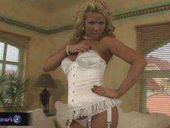 Hottie Ginger Jones in sexy white lingerie
