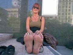 Sunglasses girl stinky feet
