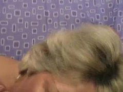 Mature blondie takes a facial ejaculation