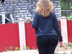 Pawg girl with a big bubble booty walking with a dog by Asshunter777.com