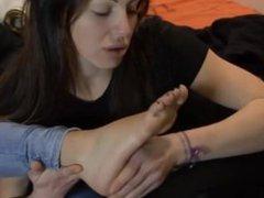 Sleeping girl foot worship