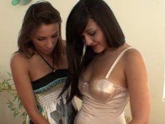Lesbian teen Celeste Star seduces her friend while they try on clothes