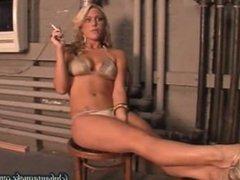 Blonde Smoking in Dressing Room