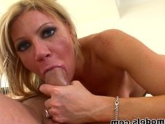 Midwest Blonde Natural Tit MILF Christina POV BLOWJOB and MESSY FACIAL!