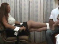 classy ebony woman tickled