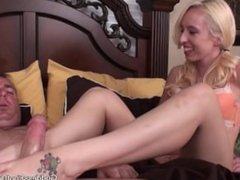 Hot Blonde Footjob 2