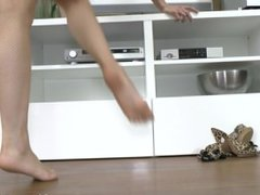 Leila Smith stockings, foot tease masturbation real orgasm in the living ro