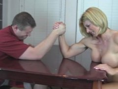 Godess Rapture scissors her step dad after he looses arm wrestling to her
