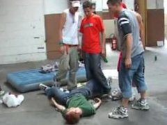Skater boys find a hobo and they bully him mercilessly