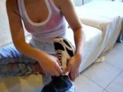 Chrissy and Kahuna socks remove and feet massage