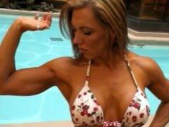 Muscle girl flexing