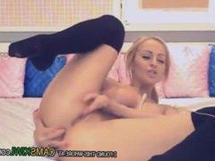 busty blonde babe solo masturbation