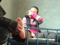 Ticklish Chinese Nylons, Feet and Waist