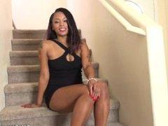 Ebony pussy play with Porsha Stairs