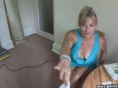 Melissa blonde mature big boobs are falling out of her blue minidress! 1