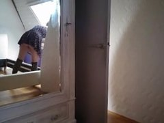 Assembling a Bed with No Panties (Unaware of Being Filmed)