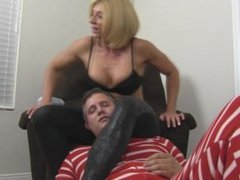 Husband is beat up, choked, and dominated by goddess rapture