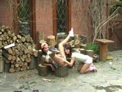 Teen brutal double penetration first time Cutting wood and gobbling pussy