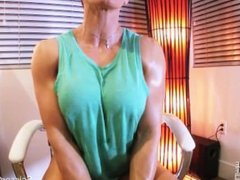 female body builder goddess rapture shows off her muscles