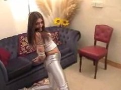 Angel Bound in Silver Spandex Jeans