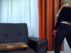 Muslim girl on webcam teases & strips AMAZING tits