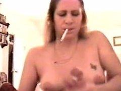 Tina gives 3 intense smoking handjobs