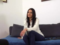 Sexy babe takes big cock during a casting interview