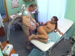 Patient gives his hot brunette nurse a cream pie