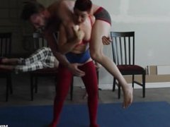 Wrestled Sat On and Tickled by Ingrid Mouth FEMDOM WRESTLING