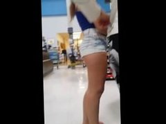 nice teen shows her ass & cheeks in tight shorts