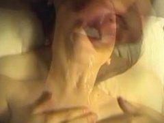 Girlfriend sucks and swallows cum