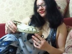 Brunette loves to sniff his shoes