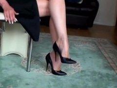 sheer nylon stockings high heel shoe danging