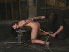Brunette bondage orgasms