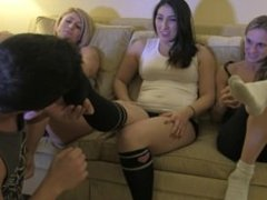 Goddess rapture shares her foot slave with her two girl friends