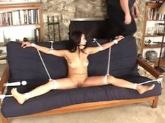 asian tied to sofa and vibrated to orgasm