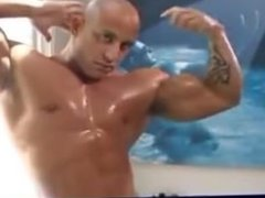 Sexy muscle stud relaxing after a show!!!