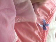 Tranny cums into her new panties