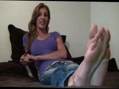 Foot fetish interview with tall hottie