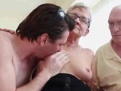 Old couple have 3some with younger guy